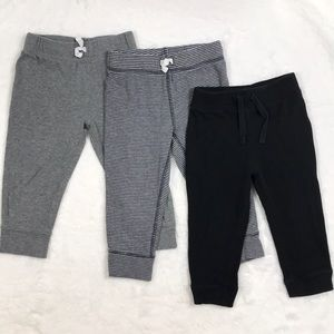 Set of Gray and Black Cotton Joggers